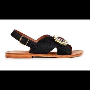 429a3f6f212e62 Marni Shoes - MARNI Crystal Embellished Calf Hair Flat in Black